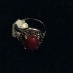 Dainty howlite dyed stone ring, a deep red stone